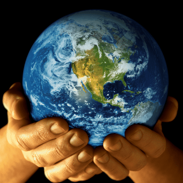 climate control post. hands holding a world globe
