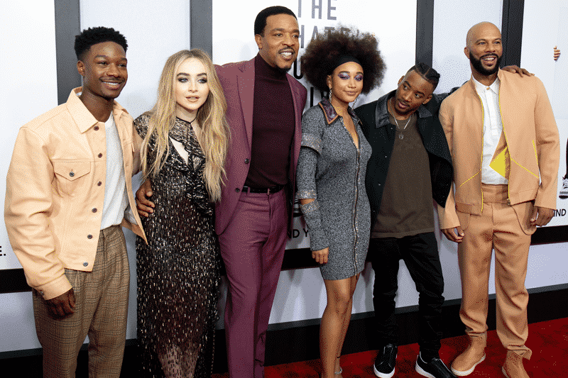 L to R-Lamar Johnson, Sabrina Carpenter, Russell Hornsby, Amandla Stenberg, Algee Smith and Common attend The Hate U Give New York Screening at Paris Theatre