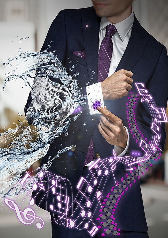 man wearin suit being splashed with water