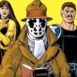 Comic book characters pictured from Watchmen