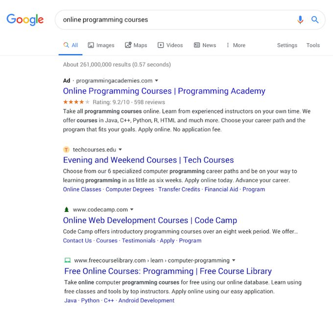 Updated look for Google search thread on a computer