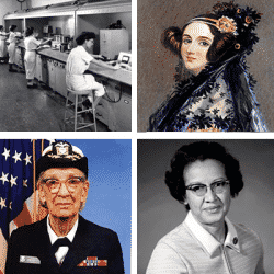 Collage of images of famous women in the STEM field