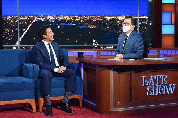 The Late Show with Stephen Colbert and guest Dr. Sanjay Gupta during Thursday's March 12, 2020 show.