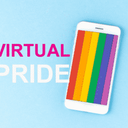 virtual pride poster with smartphone and a lgbt flag