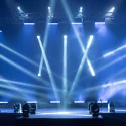Stage for a concert Online transmission. Business concept for a concert online production