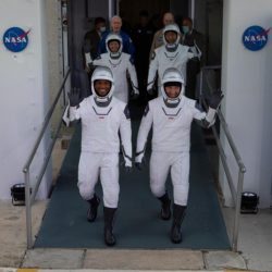 The SpaceX Dragon Capsule crew appearing to the public before boarding