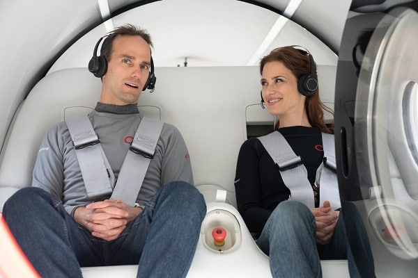 Josh Giegel and Sara Luchian aboard the Virgin hyperloop