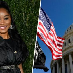 Keke Palmer wearing black upper body shot split image Capitol