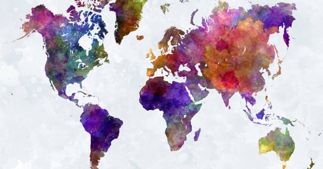 watercolor colorful world map
