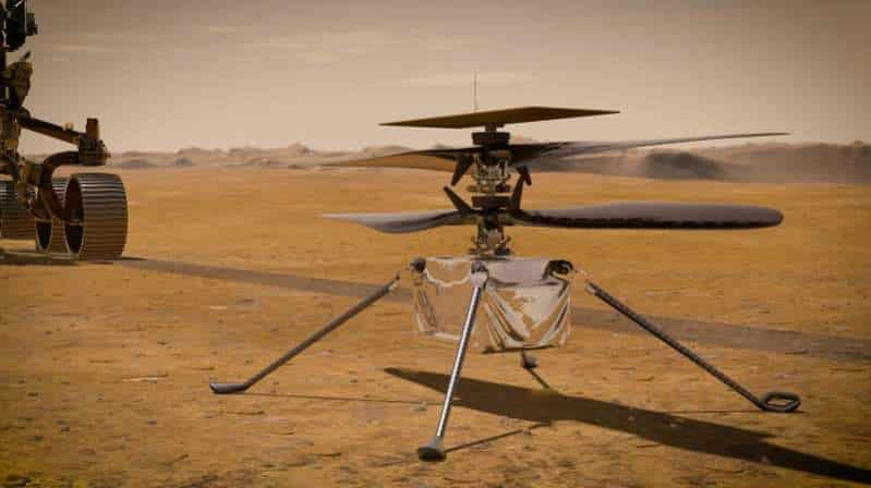 The NASA Rover rests on the brown sands of Mars