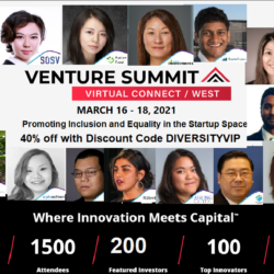 Venture Summit event flyer with headshot photos of diverse individuals with event information written in the middle.