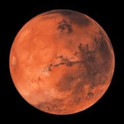 A rendering of the planet Mars