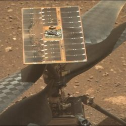 Blades on the Ingenuity Mars helicopter during the unlocking process, as seen on Apr. 8, 2021