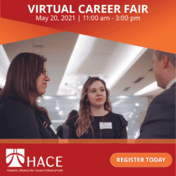 HACE Career Fair flyer with a stock photo of three business people talking to one another