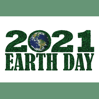 earth day 2021 with a globe in the place of the zero