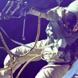 Astronaut Ed White during the first American spacewalk.