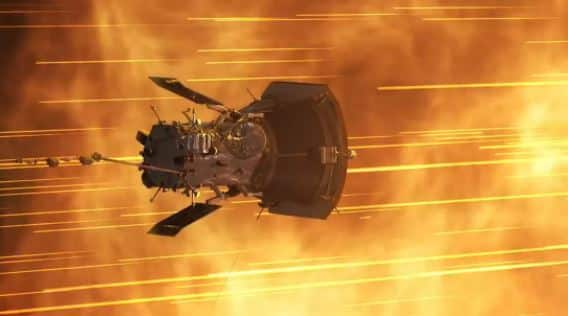 NASA's solar probe flying high speed in space surrounded by yellow light beams