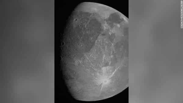 Jupiter moon. image of Ganymede was taken by the JunoCam imager during Juno's June 7 flyby of the icy moon. The mission later hopes to obtain a color portrait of the moon.
