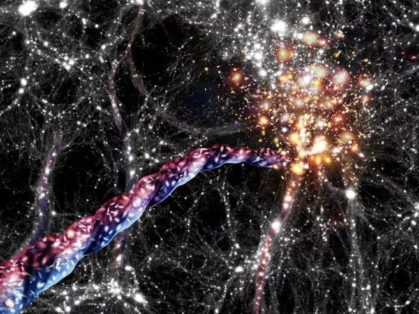 An artist's impression of a spinning cosmic filament that astronomers found