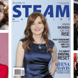 Geena Davis collage of pictures including the Diversity in STEAM Magazine Cover