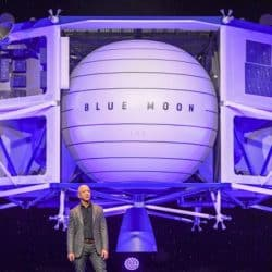 Amazon founder and CEO Jeff Bezos announced he'll be on board a spaceflight next month, in a capsule attached to a rocket made by his space exploration company Blue Origin. Bezos is seen here in 2019.