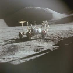 The lunar rovers of Apollo 15, 16 and 17 parked American automotive culture on the lunar surface, and expanded the scientific range of the missions' astronaut explorers.