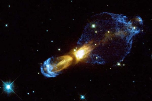 An image of the Rotten Egg Nebula captured by the Hubble Space Telescope and released by NASA in August 2001.
