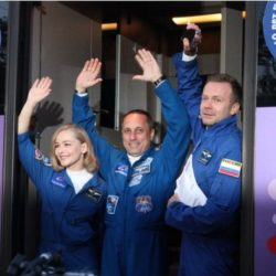Russian film team boldly shoot towards space station